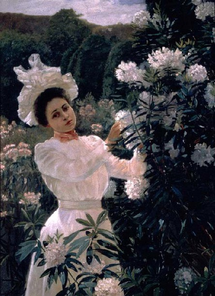 Girl With Rhododendrons