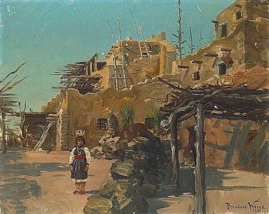 Indian Girl By A Pueblo