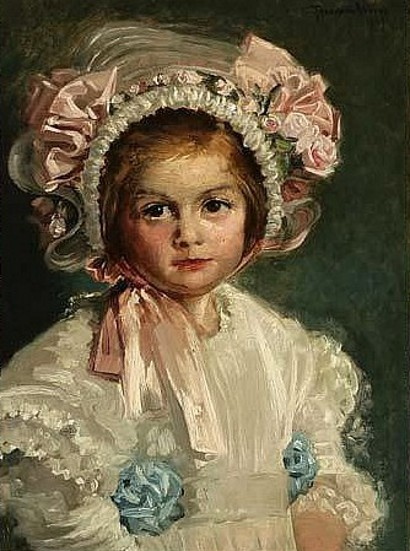 Little Girl In A Floral Bonnet