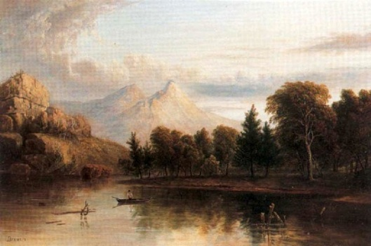 Sierra Foothills - A Lone Figure In A Rowboat With Mountains Beyond