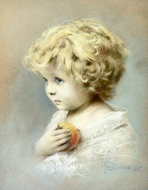 Blonde Child With Apple