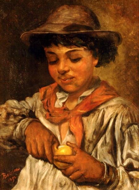 Creole Boy Eating Orange