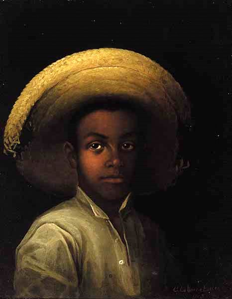 African-American Youth In A Straw Hat
