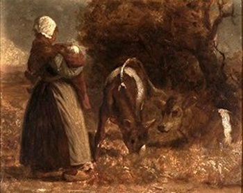 Dutch Woman With Baby And Two Cows