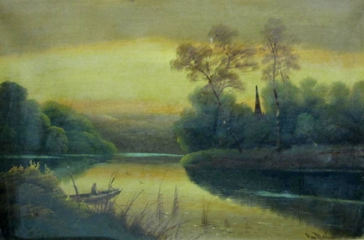 A River Landscape With A Fisherman In A Punt