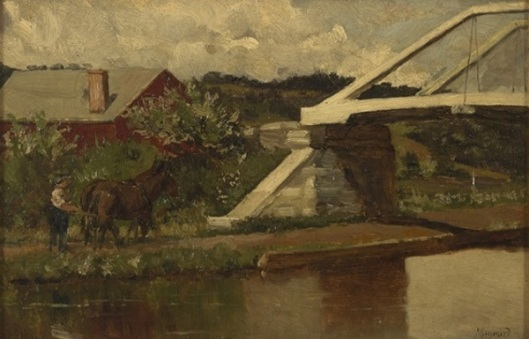 Landscape With Barn, Bridge And Man Driving A Team Of Horses