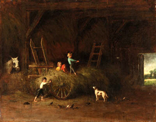 Children At Play In A Barn