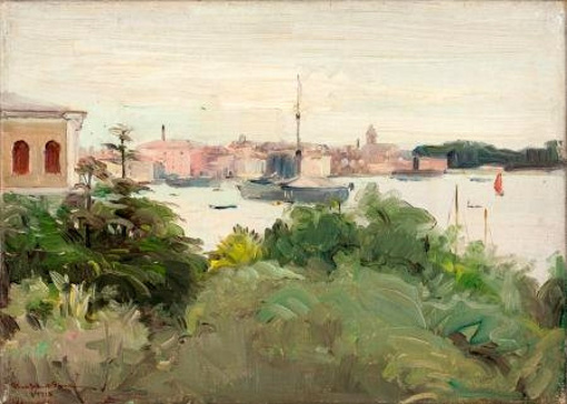 Italian Landscape With Moored Boats