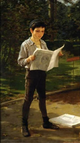 Newsboy Reading The Paper
