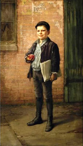 Newsboy With Apple