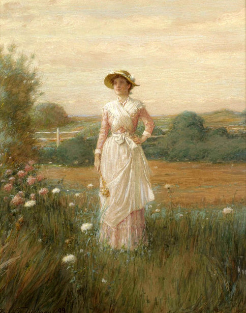 Young Woman In A Field Of Flowers
