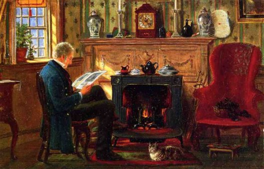 Examining Illustrations By The Fire