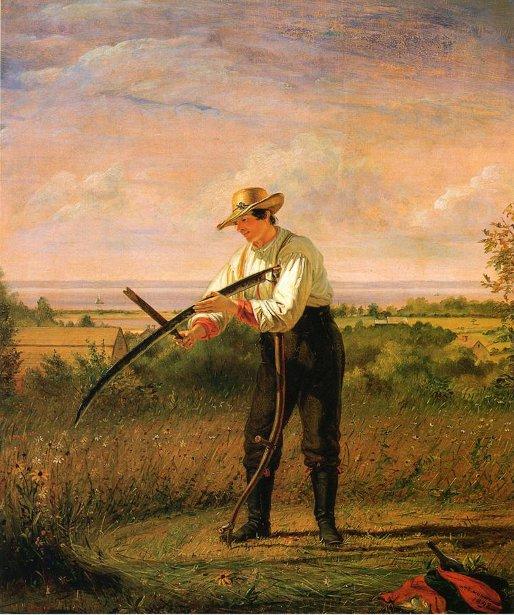 Farmer Whetting His Sythe