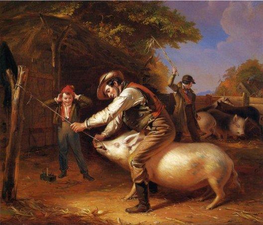 Ringing The Pig - Scene In A Long Island Farm-Yard