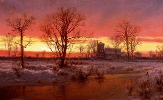 Sunset, Winter - Church At Dusk