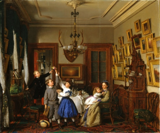 The Contest For The Bouquet - The Family Of Robert Gordon In Their New York Dining-Room
