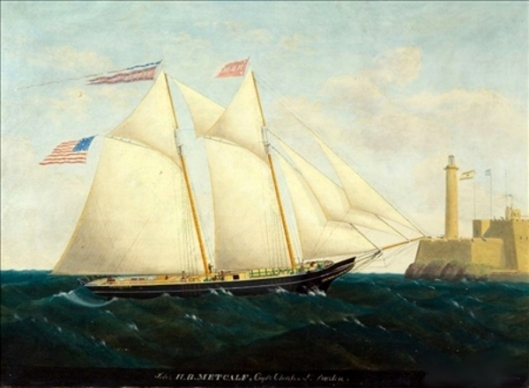 The Schooner H. B. Metcalf Off Havana With Fort La Cabana In The Distance
