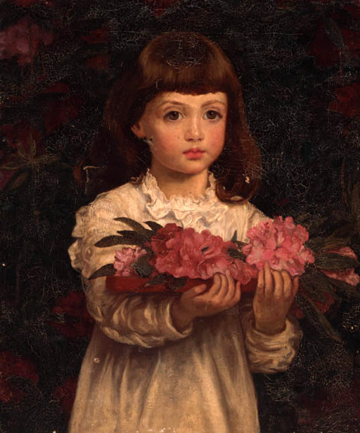 A Young Girl Collecting Rhodendron Flowers