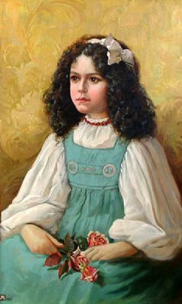 A Young Girl Holding A Posy Of Roses
