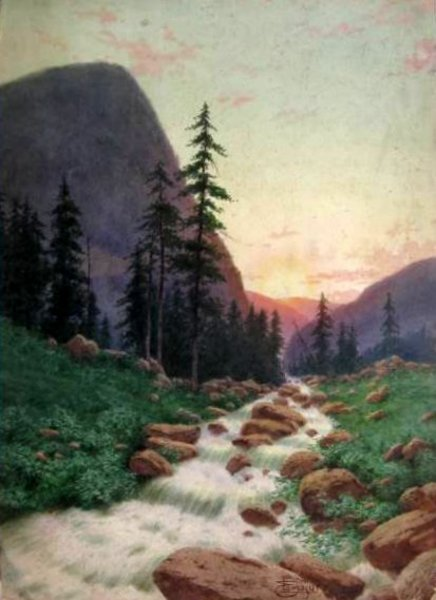 Mountainous Landscape With Stream
