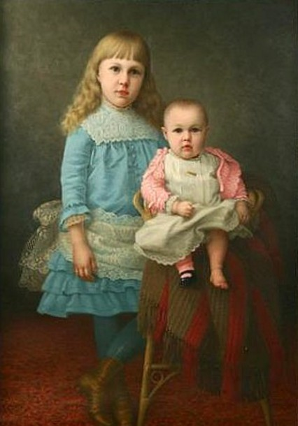 Young Girl In A Blue Dress And A Baby In A Pink Sweater