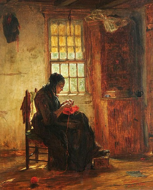 Woman Knitting By A Window