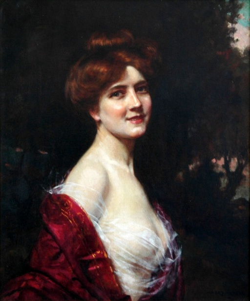 Young Woman In A Red Gown