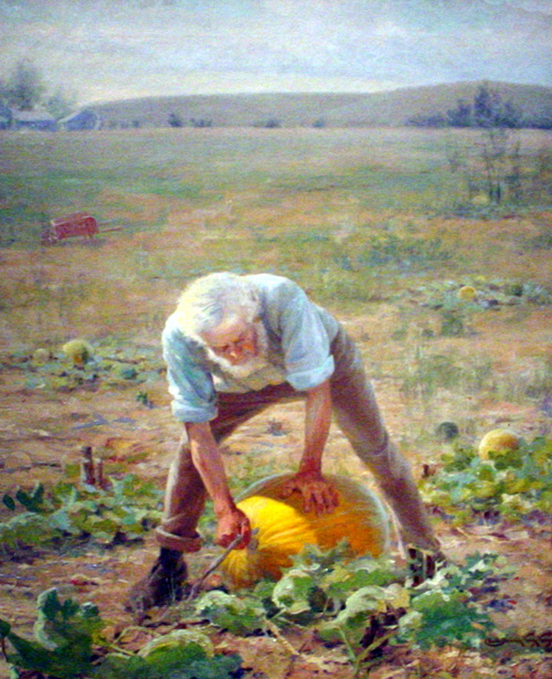 Farmer With Pumpkin