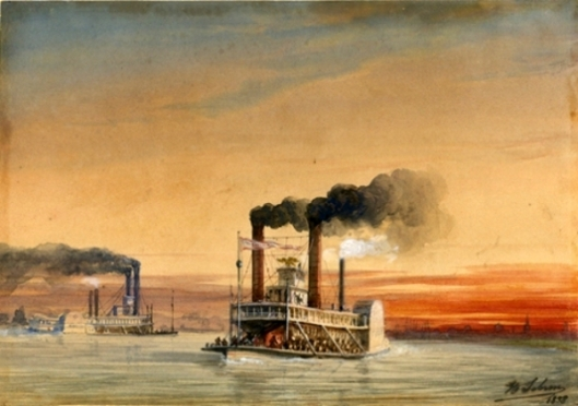 Steamboats On The Mississippi Near New Orleans