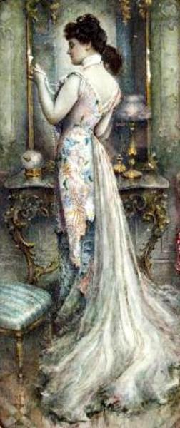 Woman Admiring Pearls