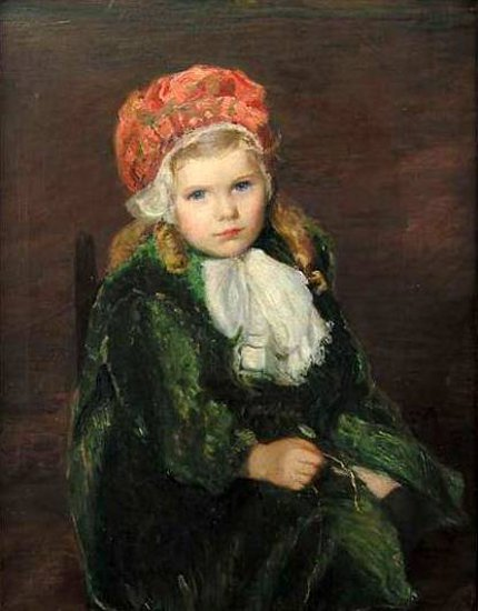 Pink Beret - Girl In A Red Bonnet