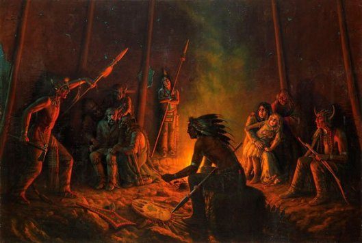 Frontiersman And His Daughter Held Captive Inside Indian Tent