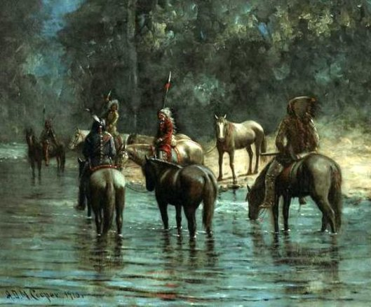 Indians Fording A Stream At Twilight - Indians With Stolen Horses