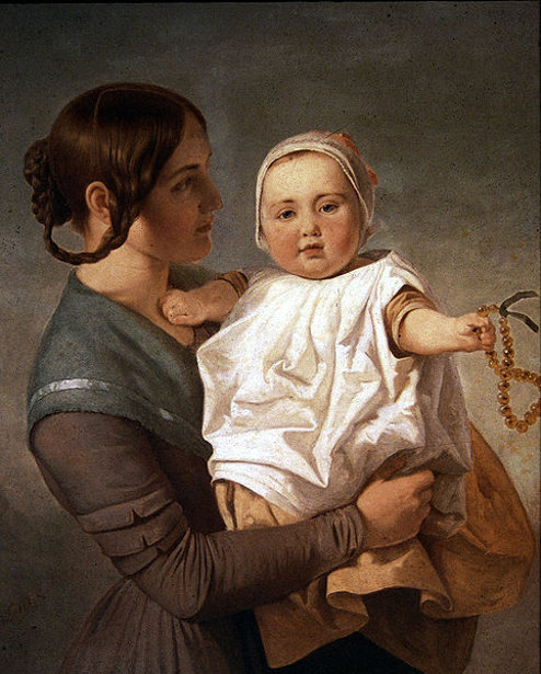 The Amber Necklace (Artist's Wife, Juliane Lottner, With Her Daughter Ida)
