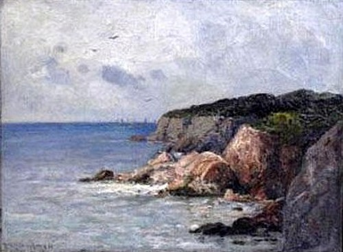 A Rocky Seascape With Sailboats
