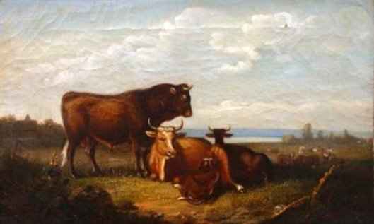 Cows In Riverside Landscape