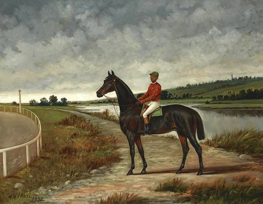Dark Racehorse With A Jockey Up By A Racetrack In A River Landscape