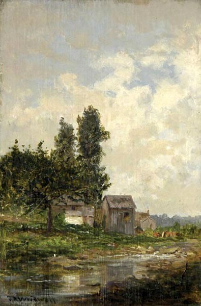 Farm Landscape With Stream
