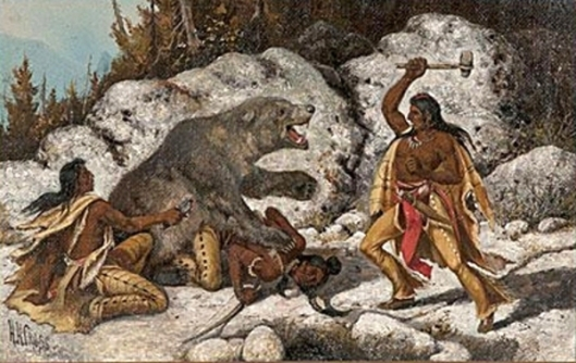 Indians Being Attacked By Bear - Bear Hunt