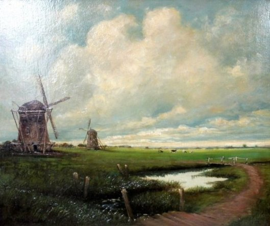 Landscape With Windmills And Cows Grazing