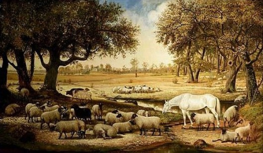 Livestock In A Sylvan Field With Stream