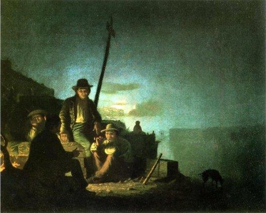 Watching The Cargo At Night - Raftsmen At Night