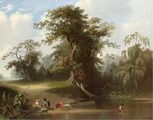 Wash Day On A River Bank - Landscape, Rural Scene