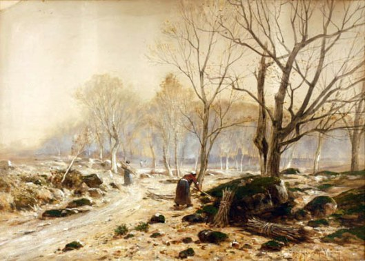 Figures In A French Landscape (possibly Fontainebleau Forest)