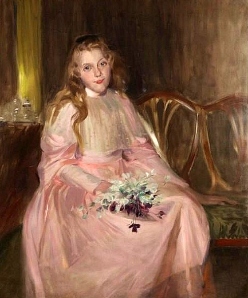 Girl In Pink Dress Holding Flowers