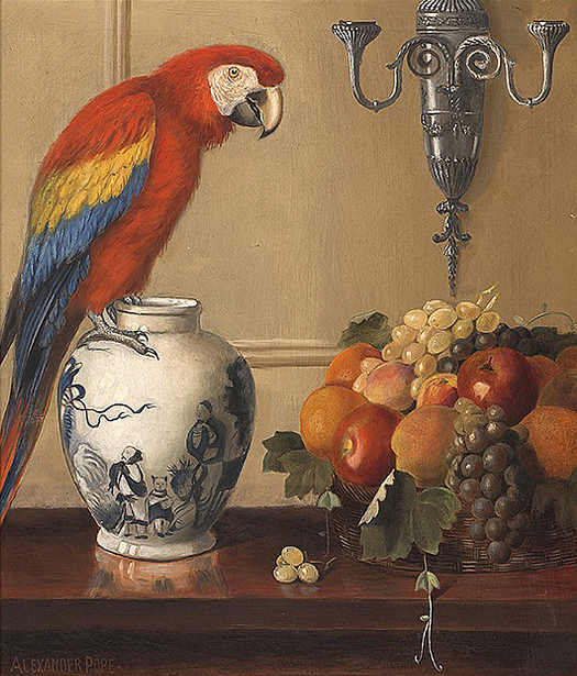 Macaw, Chinese Vase And Fruit