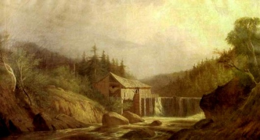 Rocky River Landscape With Waterfall And Mill