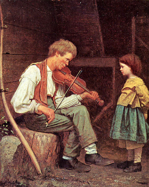 Rustic Violinist With Little Girl