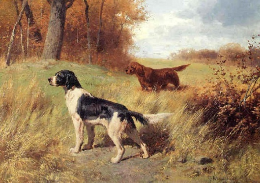 Setters In A Landscape