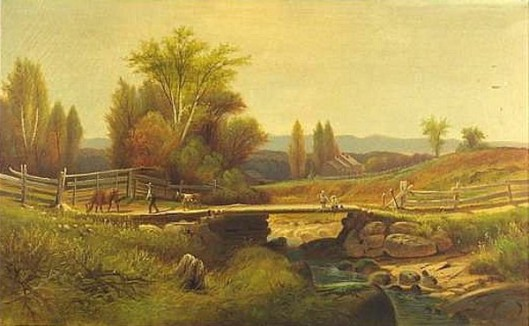 Valley View With Children Fishing
